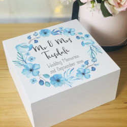 Personalised Blue Floral Memory Box