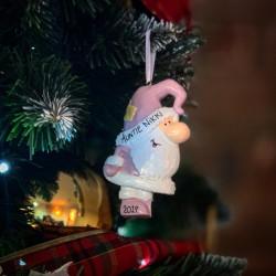 Personalised Blush Santa Hanging Decoration