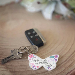Personalised Butterfly Teacher Keyring