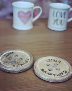 Image of wooden Button Coasters