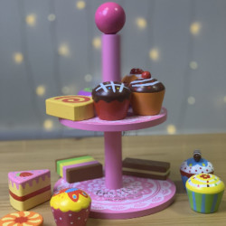 Personalised Cake Stand With Cake Slices And Cup Cakes Toy
