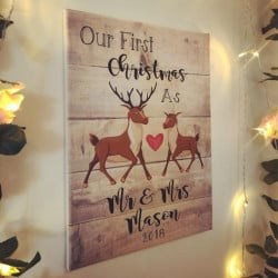 Image of first married christmas decoration canvas