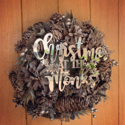 Image of personalised christmas wreath champagne colour