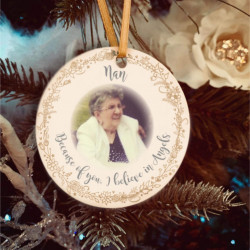Personalised Remembrance Photo Tree Decoration - Champagne & White -SET of 2