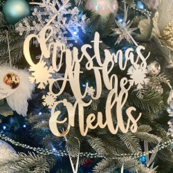 Personalised Mirrored 'Christmas At The...' Decoration Curly - Icy Silver