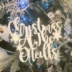 Personalised White 'Christmas At The...' Decoration Curly - Icy Silver