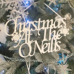 Personalised White 'Christmas At The...' Decoration - Icy Silver
