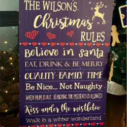 Personalised Christmas Family Rules Sign