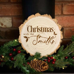 Engraved Chirstmas Log Slice