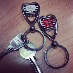Image of Personalised Couples Love Heart Keyrings