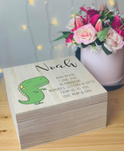Personalised Dinosaur Memory Box
