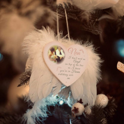 Personalised Blush Remembrance Feather Wings Christmas Decoration