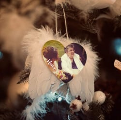 Personalised Full Photo Remembrance Feather Wings Christmas Decoration