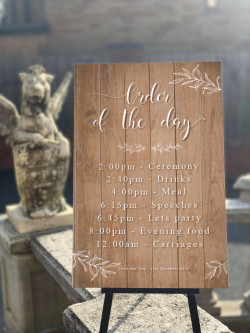 Personalised Wooden Foliage Wedding Order Of The Day Sign
