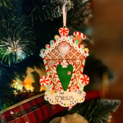 Personalised Gingerbread House Hanging Decoration