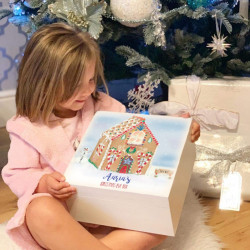 Personalised White Hand Drawn Gingerbread House Christmas Eve Box