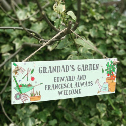 Personalised Grandad's Garden Green Hanging Plaque