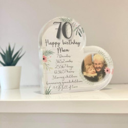 Personalised Birthday Timeline Acrylic Heart Block