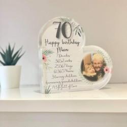 Personalised Birthday Timeline Acrylic Heart Block