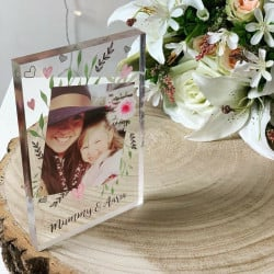 Personalised Hearts And Rose Photo Acrylic Block