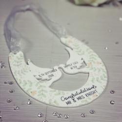 NEW Personalised Hanging Wedding Horseshoe Plaque - Green Leaf Theme