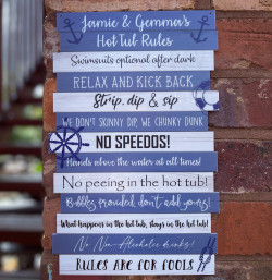 Hot Tub Rules Sign - Nautical