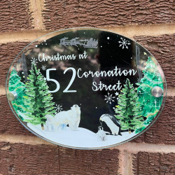 Personalised Winter Polar Bear House Plaque