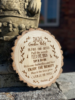 Personalised Engraved Garden Rules Log Slice - GUARANTEED FOR FATHER'S DAY DELIVERY