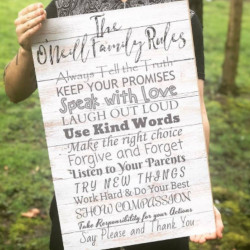 Large Personalised Family Rules Sign