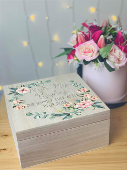 New Personalised Wooden Floral Wreath Wedding Memory Box