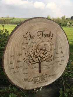 Engraved Family Tree Log Slice Large