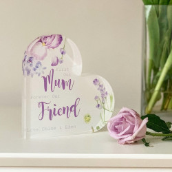 Personalised Lavender Special Message Acrylic Heart Block
