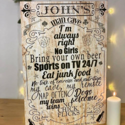 Large Personalised Man Cave Rules Sign