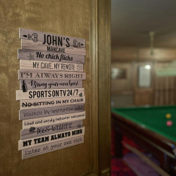 Mancave Rules Sign - Wooden