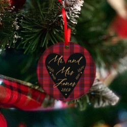 Personalised Tartan Heart Tree Decoration - Set of 2