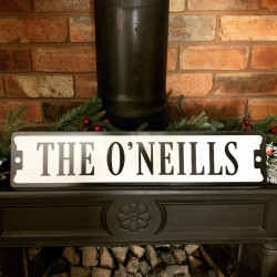 Personalised Surname Mantelpiece Sign - Black & White