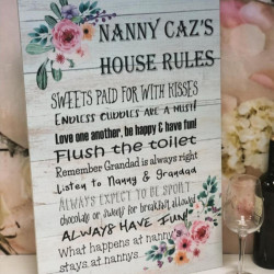 Large Floral Personalised Family Rules Sign