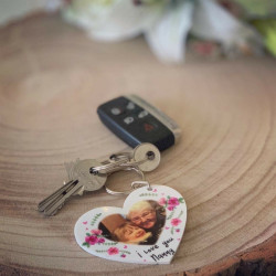 Personalised Floral Heart Photo Keyring