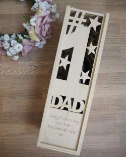 #1 Dad Cutout Wine Box