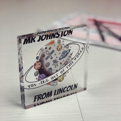 a picture of a personalised teacher space design acrylic block