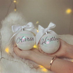 Personalised Pearlescent Baubles - Set of 2