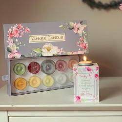 Personalised Floral Tea Light Holder - Mum