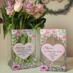 Personalised Pink Heart Mothers Day Vase