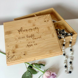 Personalised Wooden Mothers Day Jewellery Box