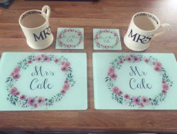 Image of Personalised Floral Couples Mat & Coasters Set