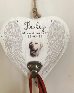 Personalised Pet Remembrance Heart Hanger With Hook