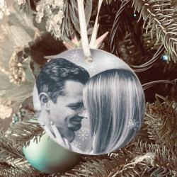 Personalised Full Photo Tree Decoration - Icy Silver -SET of 2