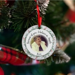 Personalised Remembrance Photo Tree Decoration - Red & White -SET of 2