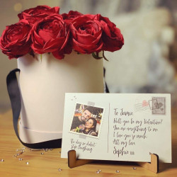 Everlasting Love Rose Box With Personalised Photo Postcard