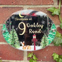Personalised Red Deer Christmas House Plaque